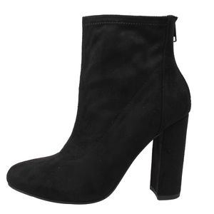 Black Faux Suede High Top Block Heel Ankle Boot